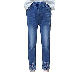 billige Bukser og leggings til piger-Børn Pige Simple / Afslappet Daglig Ensfarvet / Trykt mønster Uden ærmer Bomuld / Polyester Jeans Blå 140