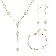 baratos Conjuntos de Bijuteria-Mulheres Pérola Conjunto de jóias - Imitação de Pérola Europeu, Fashion, Elegante Incluir Dourado / Prata Para Festa / Brincos