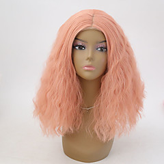 cheap Wigs & Hair Pieces-Synthetic Lace Front Wig Women's Water Wave Synthetic Hair Natural Hairline Wig Short Lace Front Orange