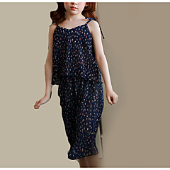 billige Tøjsæt til piger-Børn Pige Blomstret Uden ærmer Tøjsæt / Sødt