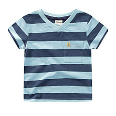 baratos Roupas de Meninos-Bébé Para Meninos Moda de Rua Diário Listrado Manga Curta Poliéster Camiseta Azul 100