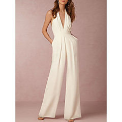 Women's Wide Leg Backless Daily Sexy Halter Neck White Black Red Wide Leg Jumpsuit, Solid Colored Backless M L XL Cotton Sleeveless Summer