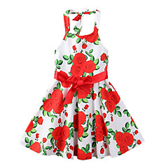 baratos Roupas de Meninas-Menina de Vestido Festa Para Noite Floral Estampado Verão Poliéster Sem Manga Fofo Boho Vermelho