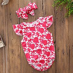 billige Babytøj-Baby Pige Vintage / Afslappet I-byen-tøj Blomstret / Trykt mønster Delt / Trykt mønster Uden ærmer Bomuld Bodysuit