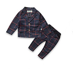 billige Tøjsæt til drenge-Drenge Daglig I-byen-tøj Stribet Tøjsæt, Bomuld Forår Efterår Langærmet Vintage Navyblå Grå