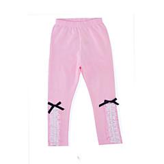billige Bukser og leggings til piger-Baby Pige Daglig / Ferie Ensfarvet Blonder Langærmet Bomuld / Polyester Bukser Lyserød 130 / Sødt