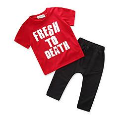 billige Tøjsæt til drenge-Baby Drenge Simple / Afslappet Daglig / Sport Trykt mønster Klassisk / Stilfuldt / Ren Farve Kortærmet Normal Normal Bomuld / Polyester Tøjsæt Rød 100