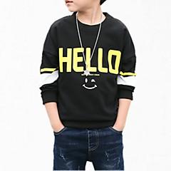 billige Hættetrøjer og sweatshirts til drenge-Børn Drenge Simple Blomstret Normal Bomuld Hættetrøje og sweatshirt Sort 140