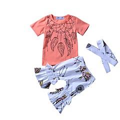 billige Tøjsæt til piger-Baby Pige Aktiv Daglig / I-byen-tøj Blomstret / Geometrisk Sløjfer / Drapering / Vintage Stil Kortærmet Normal Normal Modal Tøjsæt Orange 100 / Sødt