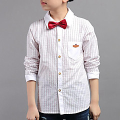 baratos Roupas de Meninos-Infantil Para Meninos Casual Listrado Manga Longa Camisa