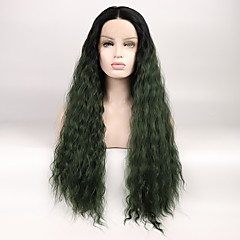 cheap Wigs & Hair Pieces-Synthetic Lace Front Wig Women's Deep Wave Black Layered Haircut Synthetic Hair Color Gradient / Middle Part Black / Green Wig Mid Length Lace Front Black / Dark Green