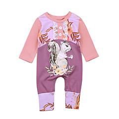 billige Babytøj-Baby Pige Simple I-byen-tøj Ensfarvet / Trykt mønster / Dyr Drapering / Trykt mønster Halvlange ærmer Bomuld Overall og jumpsuit / Sødt