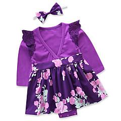 billige Babytøj-Baby Pige Afslappet I-byen-tøj Blomstret / Patchwork Blonder / Trykt mønster Langærmet Bomuld Bodysuit / Sødt
