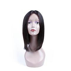 billiga Peruker och hårförlängning-Syntetiska snörning framifrån Yaki Rakt Frisyr i lager Syntetiskt hår Naturlig hårlinje Svart Peruk Dam Mellanlängd Cosplay Peruk /