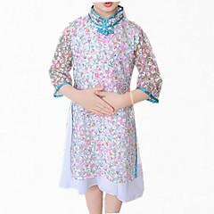 baratos Roupas de Meninas-Menina de Vestido Diário Floral Primavera Outono Algodão Poliéster Manga Longa Simples Fofo Azul