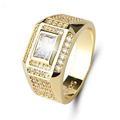 cheap Rings-Men's Cubic Zirconia / Rhinestone Zircon Band Ring - Circle Classic / Vintage / Elegant Gold Ring For Wedding / Daily / Ceremony