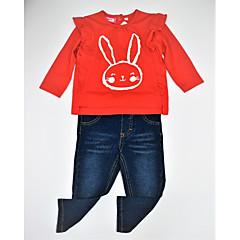 billige Tøjsæt til piger-Spædbarn Pige Afslappet / Aktiv / Basale Daglig Farveblok / Dyr Dyre Mønster / Strikket / Blandet Farve Langærmet Normal Normal Bomuld Tøjsæt Rød / Trykt mønster