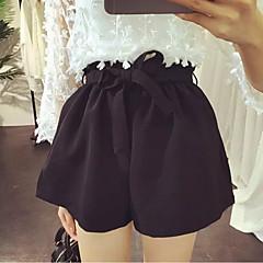 billige Bukser og leggings til piger-Baby Pige Afslappet Daglig Ensfarvet Chiffon Specielle lædertyper Shorts Sort 140