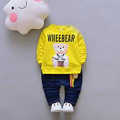 billige Tøjsæt til drenge-Baby Unisex Basale I-byen-tøj Ensfarvet / Trykt mønster / Jacquard Vævning Trykt mønster Langærmet Bomuld Tøjsæt / Sødt