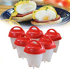 6pcs Silicone Egg Cooker Hard Boiled without Shell Cooking Tools