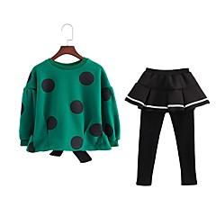billige Tøjsæt til piger-Pige Daglig Prikker Tøjsæt, Bomuld Polyester Forår Efterår Langærmet Sødt Grøn
