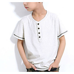 baratos Roupas de Meninos-Infantil Para Meninos Simples Estampado Manga Curta Algodão Camiseta