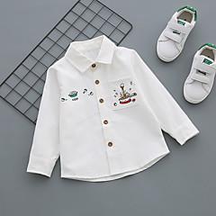 billige Overdele til drenge-Baby Drenge Afslappet Daglig Geometrisk Spænde Langærmet Normal Bomuld Skjorte Blå
