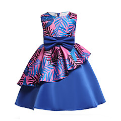 Mädchen Kleid Party Ausgehen Blumen Baumwolle Polyester Frühling Sommer Ärmellos Niedlich Aktiv Blau