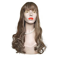 cheap Wigs & Hair Pieces-Synthetic Wig Women's Wavy Brown Layered Haircut Synthetic Hair Natural Hairline Brown Wig Long Capless Brown / White