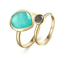 Χαμηλού Κόστους Ring Set-Γυναικεία Σετ δαχτυλιδιών Κρυστάλλινο 2pcs Χρυσό S925 Sterling Silver 18Κ Επίχρυσο Circle Shape Ευρωπαϊκό Πάρτι Δώρο Κοστούμια Κοσμήματα