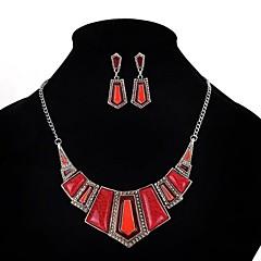 baratos Conjuntos de Bijuteria-Mulheres Resina Geométrica Conjunto de jóias - Resina Vintage, Festa, Importante Incluir Vermelho Para Festa