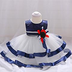 baratos Roupas de Bebê-bebê Para Meninas Festa / Para Noite Retalhos Sem Manga Algodão / Poliéster Vestido Azul / Fofo