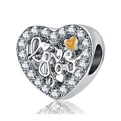 billige Perler og smykkemaking-DIY Smykker 1pcs Perler Rhinstein Legering Sølv Hjerte Perlene 2cm DIY Halskjeder Armbånd