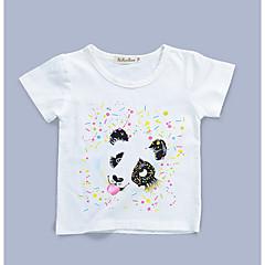 baratos Roupas de Meninas-Para Meninas Diário Estampado Camiseta, Algodão Verão Manga Curta Fofo Preto Laranja Arco-íris