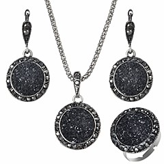 baratos Conjuntos de Bijuteria-Conjunto de jóias - Resina Europeu Incluir Preto Para Diário / Brincos