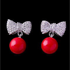 Women's Cubic Zirconia Stud Earrings - Bowknot Lovely, Fashion Red For Wedding Date