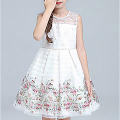 baratos Roupas de Meninas-Infantil Para Meninas Floral Diário Estampado Sem Manga Algodão / Raiom Vestido Branco 110
