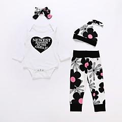 billige Sett med babyklær-Baby Unisex Blomstret Langærmet Bomuld Tøjsæt / Sødt