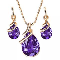 baratos Conjuntos de Bijuteria-Cristal Conjunto de jóias - Caído, Lábios Europeu Incluir Roxo / Vermelho / Azul Para Diário / Brincos