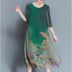Women's Floral Plus Size Daily Chinoiserie Loose / Chiffon Dress - Botanical Print Summer Green XXL XXXL XXXXL