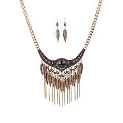 tanie Zestawy biżuterii-Damskie Biżuteria Ustaw 1 Naszyjnik Náušnice - Vintage Leaf Shape Line Shape Gold Silver Zestawy biżuterii Kolczyki wiszące Naszyjniki z