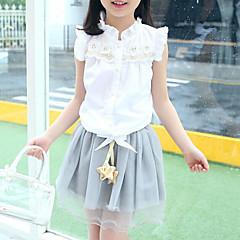 billige Tøjsæt til piger-Børn Pige Blonde / Folder Daglig Patchwork Uden ærmer Normal Bomuld Tøjsæt Hvid