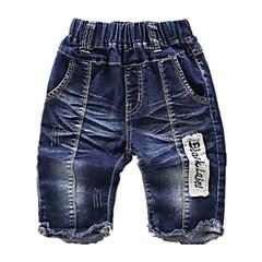 billige Drengebukser-Baby Drenge Aktiv Farveblok Ribbet / Patchwork Bomuld Jeans Blå 100