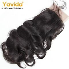 cheap Wigs & Hair Pieces-Yavida Malaysian Hair / Body Wave 4x13 Closure Wavy Free Part Swiss Lace Virgin Human Hair All With Baby Hair Christmas Gifts