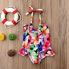 billige Badetøj til piger-Baby Pige Aktiv Ferie / Strand Blomstret Åben ryg / Sløjfer / Trykt mønster Uden ærmer Nylon Badetøj Regnbue / Sødt