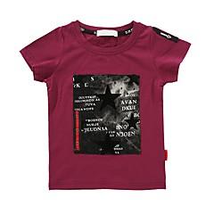 billige Gutteklær-Gutt Daglig Trykt mønster T-skjorte, Bomull Vår Sommer Kortermet Aktiv Hvit Rød