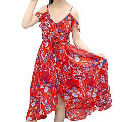 baratos Roupas de Meninas-Menina de Vestido Diário Praia Floral Verão Algodão Poliéster Sem Manga Activo Boho Vermelho