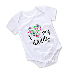 billige Babytøj-Baby Pige Aktiv I-byen-tøj Blomstret / Trykt mønster Broderi Kort Ærme Bomuld Bodysuit / Sødt