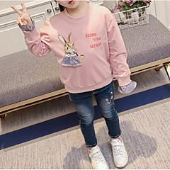billige Hættetrøjer og sweatshirts til piger-Baby Pige Simple Blomstret Langærmet Bomuld / Polyester Hættetrøje og sweatshirt Lyserød 100