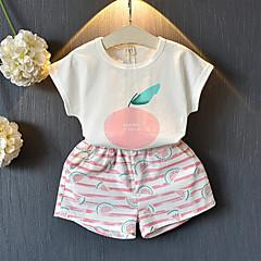 billige Tøjsæt til piger-Børn / Baby Pige Tropisk blad Frugt Kortærmet Tøjsæt